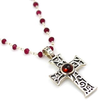 Cross Pendant in Sterling Silver and Garnet