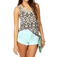 Black/Ivory Tribal Tank Top