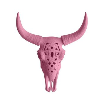 The Ledoux | Large Carved Cow Skull | Faux Taxidermy | Blossom Pink Resin