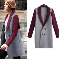 Stitching double-breasted knit jacket  L84929