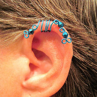 "No Piercing ""Peacock Blue Peacock"" Ear Cuff for Upper Ear 1 Cuff Peacock Blue Wire with Blu Ray Crystals or 17 COLOR CHOICES"