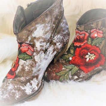 Women's ankle boots, boho festival boots, True Rebel Clothing