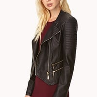 FOREVER 21 Total Babe Moto Jacket Black