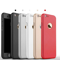 Ultrathin Luxury 360 Degree Full Body Protective Hard Cover Case For iPhone 6 6s 6 6s Plus With Front Tempered Glass