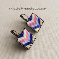 Chevron Square Earrings, Delica beads Japanese, Multicolor Gift Pink Blue White, Stripes Beadwork Big Large Bronze Dangle Earrings Modern