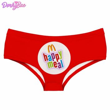 DorkyBae happy meal letter red funny print sexy hot panties kawaii Lovely briefs push up underwear women lingerie thongs