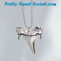 Vintage Stainless Steel Shark Tooth Necklace