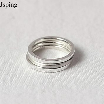 Jsping 100% 925 Sterling Silver Jewelry  New Band Trendy  Simple Thin Knuckle Ring Midi  Ring For Women Girls Aneis 1 pc