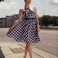 Mariposa Pin Up Dress in Delightful Black & White Gingham