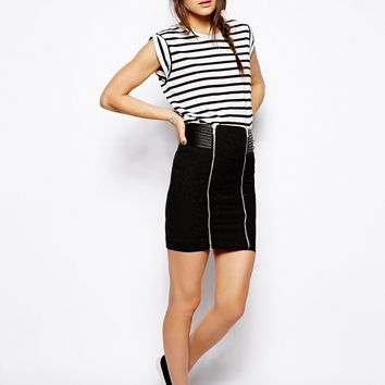 The Kooples Sport Biker Skirt with Leather Detail -