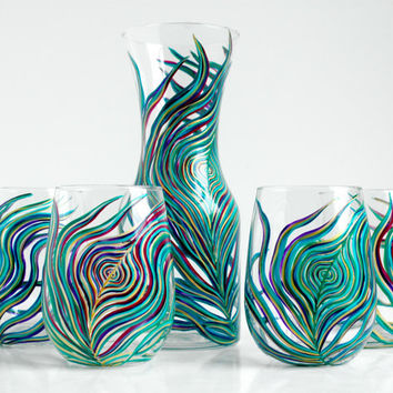 Regal Peacock Feather Stemless Wine Glasses and Carafe Decanter - 5 Piece Hand Painted Peacock Collection