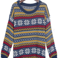 Blue Vintage Snowflake Striped Knitted Jumper Sweater - Sheinside.com
