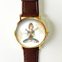 Yoga Girl Watch , Women Watches,  Leather Watch, Men's Watch  Boyfriend Watch, Ladies Watch, Silver Gold Rose Watch, Unique Watches,  Gift