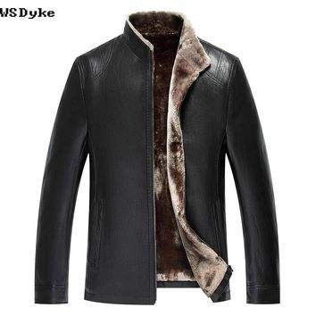 Winter Stand Collar Lining Leather Coats Men