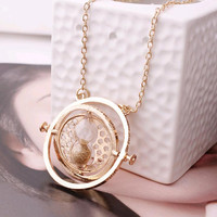 Harry Potter Time Turner Necklace Hermione Granger rotating back gold tree, hourglass Necklace Fine jewelry