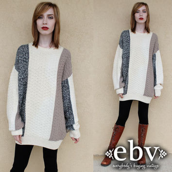 Oversized Sweater Oversized Knit Chunky Knit Vintage Cream Pullover Sweater S M L