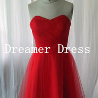Off Shoulder Ruffle Red Prom Dress Short Bridesmaid Dress Homecoming Dress Short Prom Dress Cocktail Dress