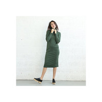Knitted Turtle Neck Dress, Green.