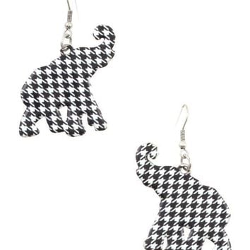 Hounds tooth pattern elephant dangle earring