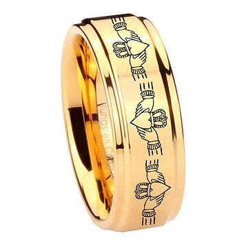 8MM Glossy Gold Step Edges Irish Claddagh Tungsten Carbide Laser Engraved Ring