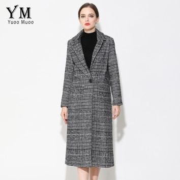 YuooMuoo New Long Women Coat Brand Design Plaid Casual Jacket Autumn Wool Black Coat European Fashion Women's Winter Jacket