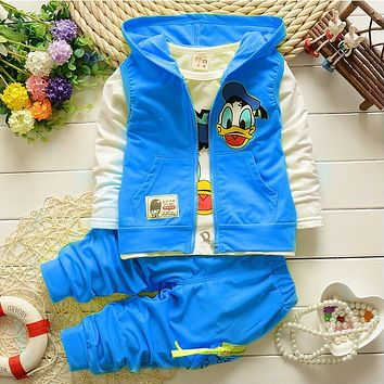 Retail New Baby Girls Boys Clothing Sets Kids Character Donald Duck Cotton Long Sleeve Hoodies Coat + Shirt +Pants Suit