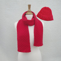 Bright Red Scarf & Hat, Cable Knit, Beanie Hat, Watch Cap, Warm Scarf, Merino Wool, Men and Women