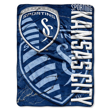 Sporting Kansas City MLS Micro Raschel Blanket (Concrete Series) (46in x 60in)