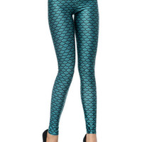 Fish Scale Print Narrow Feet Leggings