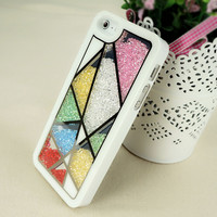 Unsymmetrical Division with Multicolor Rhinestones Case