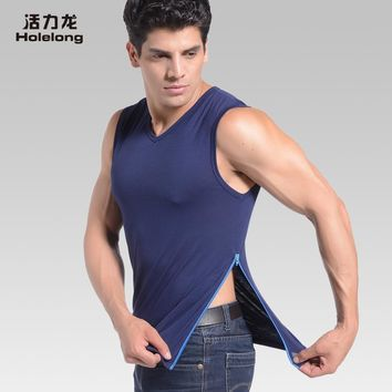 Holelong Man Undershirt Men sexy men tank top singlet vest Male Nylon Mesh Thin Short Sleeves Tops HCB048