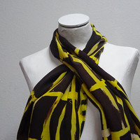 Hand Painted Silk Scarf, One of a Kind Scarf, 100% Crepe Du Chine, Brown, Yellow,  Medium Scarf, Wearable Art
