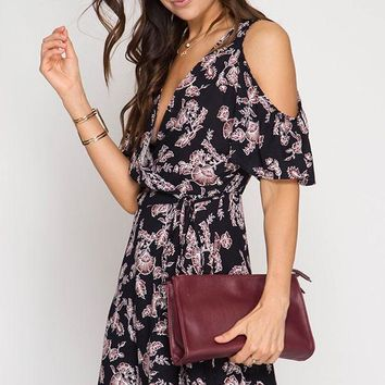 Cold Shoulder Floral Wrap Dress - Black