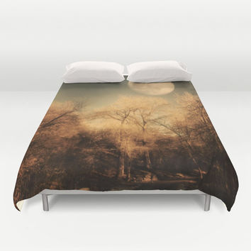 Art Duvet Cover Full Moon photography home decor photograph Gothic nature photo bedding full queen king bedroom brown trees black woodlands