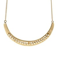 Gold Chain Crescent Collar Necklace by Charlotte Russe