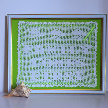 Crochet Art Wall Decor / Family Comes First  / House Warming Gift  / Family Gift  Crochet Quote / Unique Gift Idea