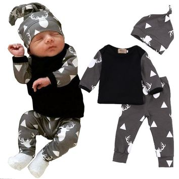 Deer Print Fashion Autumn Bebe Baby Boy Girl Clothing suits Children Clothing Set Newborn Baby Clothes Cotton 3pcs Outfits set