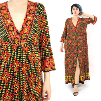 70s Floral Maxi Dress Hippie Boho Empire Waist Dress Flower Power Long Sleeve Dress Red Black Yellow Bell Sleeves Button Down Dress (L)