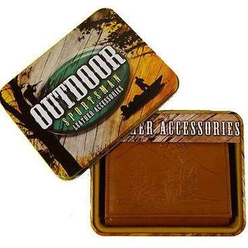 Deer Whitetail Buck Embossed Leather Trifold Wallet with Gift Tin