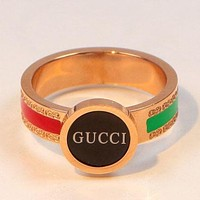 GUCCI High Quality Fashion New Letter Red Green Stripe Women Men Personality Ring Rose Gold