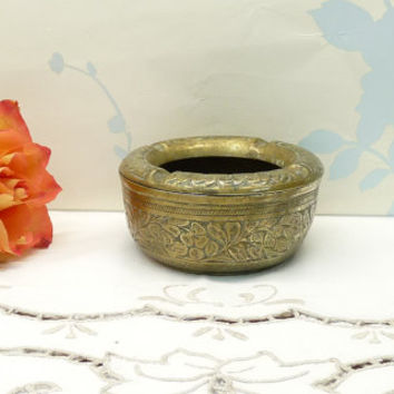 Brass Ashtray, Etched Organic Floral Design, Solid Brass, Heavy, Made in India, Indian Brass, Tobacciana, Barware, Homewares