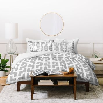 Hadley Hutton Lattice Jags Grey Duvet Cover