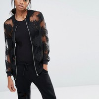 Missguided Exclusive Embroidered Mesh Bomber Jacket at asos.com