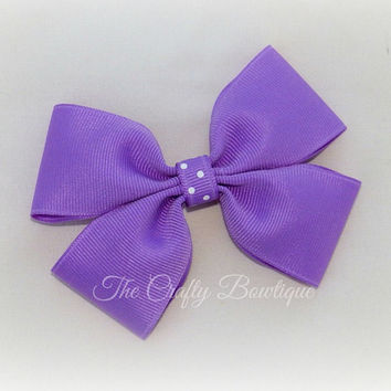 Purple Hair Bow ~ Purple Polka Dot Bow ~ Large Purple Bow ~ Purple Hair Clip ~ Purple & White Bow ~ Big Purple Bow ~ Lavender ~ Orchid