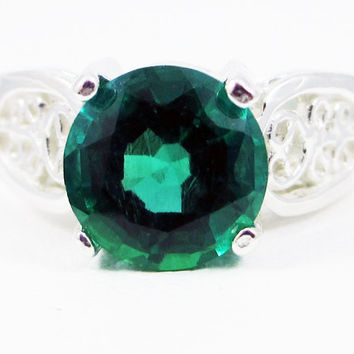 Sterling Silver Emerald Filigree Ring, May Birthstone Ring, 925 Emerald Ring, Large Emerald Solitaire Ring, Sterling Silver Filigree Ring
