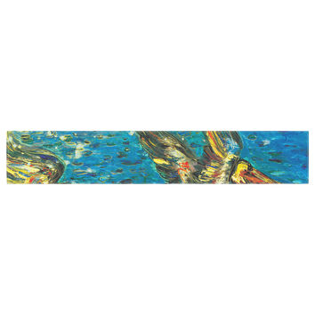 "Josh Serafin ""Seabirds"" Blue Yellow Table Runner"