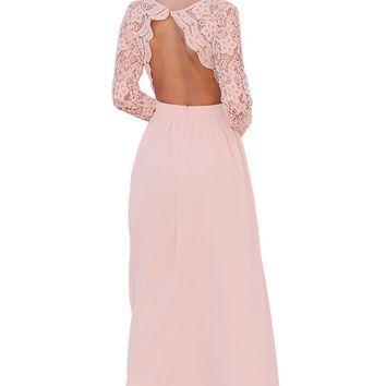 Chicloth Pink Open Back Long Sleeve Crochet Maxi Party Dress