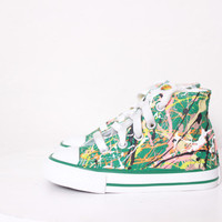 Baby Green High Top Splatter Painted Converse Sneakers Baby Size 2, Green Melon Colors