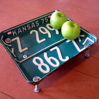 Upcycled Vintage Kansas Green License Plate Bowl
