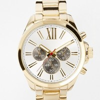 River Island Oversized Gold Roman Numeral Black Dials Watch